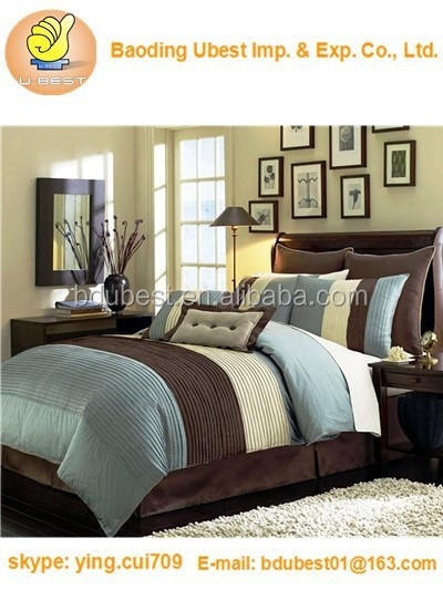 Legacy Decor Brown Luxury Stripe Comforter Set Queen Size Bedding