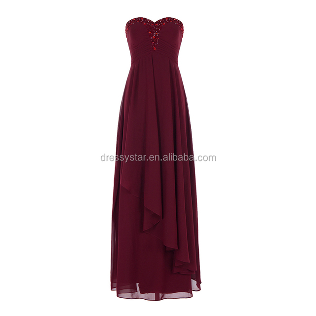 Wholesale Long Burgundy Ruffle Chiffon Strapless Beaded Prom Dress for Elegant Ladies