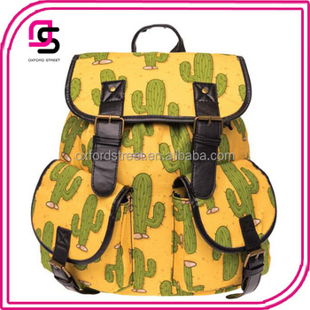 Yiwu Canvas cacti printed backpacks girls back to school backpacks