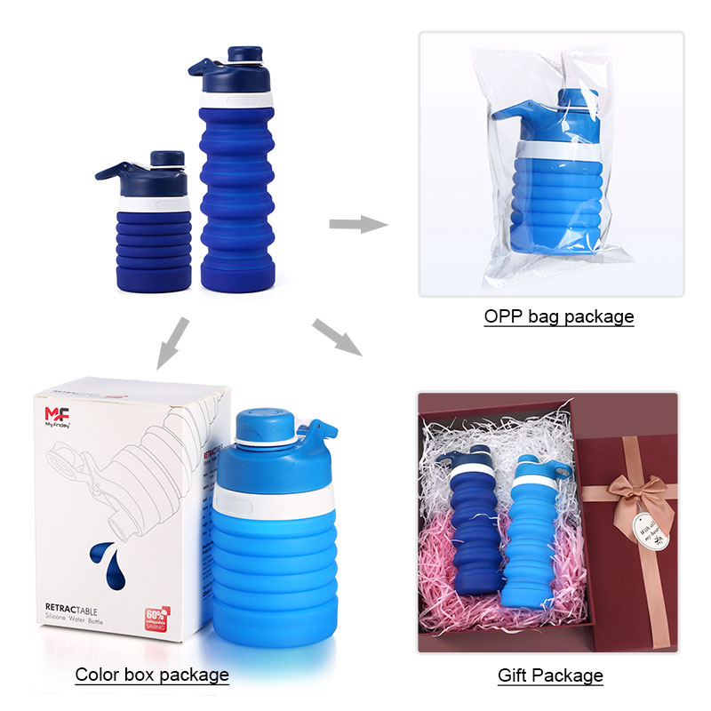 New Custom Eco-friendly Leakproof Foldable Silicone Outdoor Sport Collapsible Water Bottle