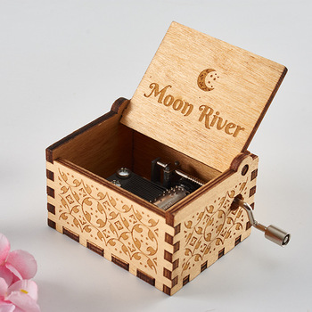 Wholesale Wooden Hand Cranked Moon River Music box