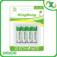 1.5V Alkaline Zn/MnO2 LR6 size AA dry Battery silver green jacket New KingKong battery