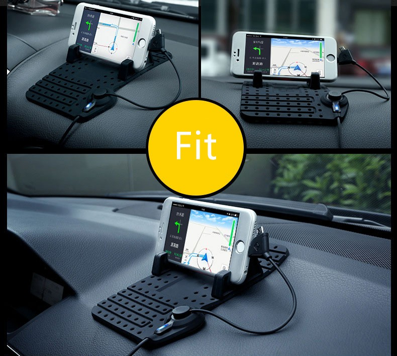 Car phone holder with USB charging line