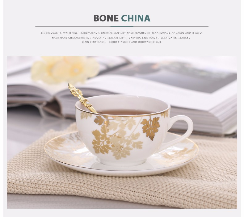 Royal standard gold-plated tea cup sets saucer with maple leaf design