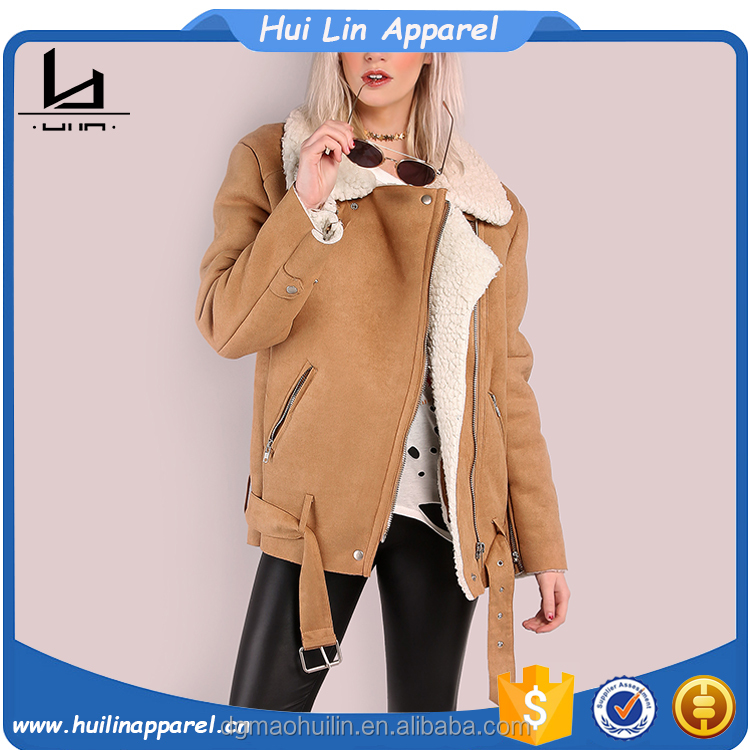 fashion clothing 2017 women western wear oversized faux sheepskin winter jakcet
