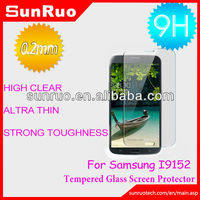 2013 Anti-scratch anti-shatter clear 9H strong toughness tempered glass screen protection for Samsung I9152,China Manufaturer