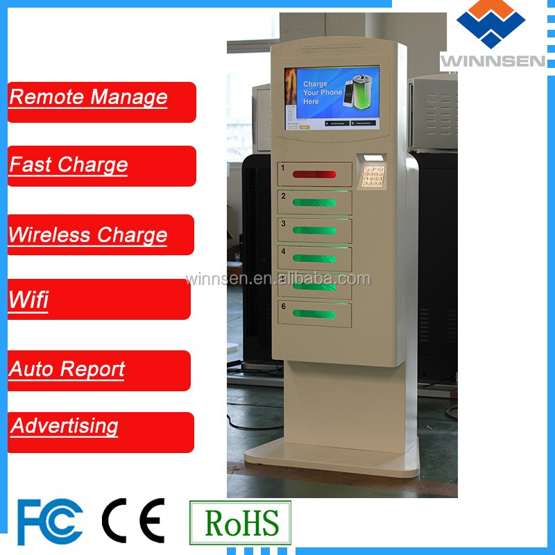Touch Screen Oeprated Wifi Secure Public Phone Charging Kiosks Steel Stand Universal mobile phone usb charger cell phone APC-06B