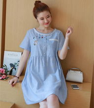 X82294A korean style woven maternity dresses pregnant women clothes