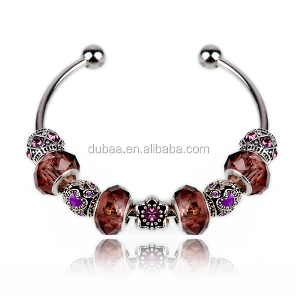 Charm Cuff Bangle Bracelet Crystal Rhinestone Trendy DIY Beads Fashion Jewelry