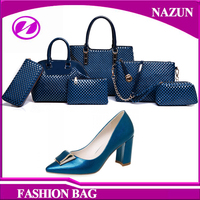 casual evening italian party high heel shoes and matching bags high quality PU leather shoe and bag