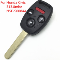 New Replacement Remote Car Key For 2008-2012 Honda Civic 3+1 Button 313.8MHz with ID46 Chip FCC ID N5F-F0084A