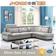 modern classic luxury nova grey leather sofa set