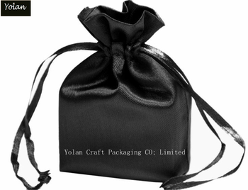 Black Silk Satin Bag, Drawstring Bag with logo