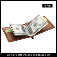 Wholesale Top Grain genuine Leather card holder Money clip mens wallet/Business vintage coin pocket mens purse ,Model GRS005