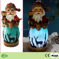 2015 new style polyresin santa claus led light for christmas indoor decoration