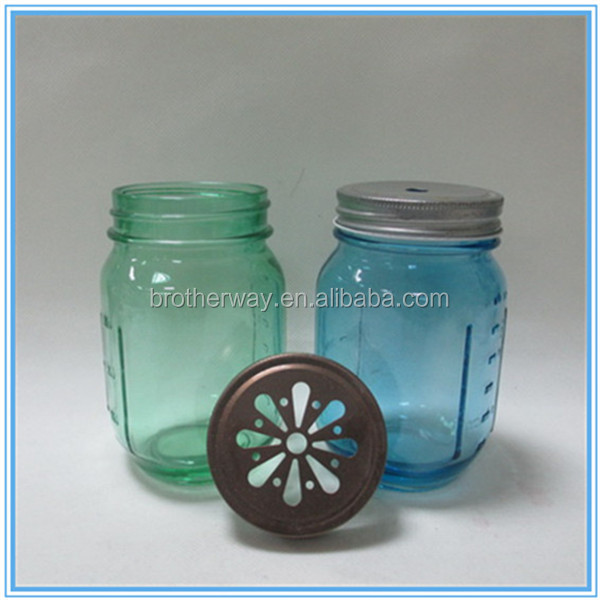 square 16oz 480ml colored graduated glass mason jars with daisy-cut lids in stock