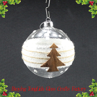 Clear Christmas Glass Ball With Bark