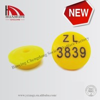 rabbit ear tag with PE in yellow17*17 mm