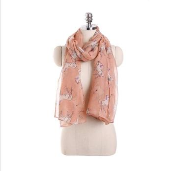 2018 Wholesale Women Voile Cool Animal Print Scarf Fashionable Horse Scarves