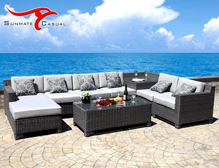 Sectional Outdoor Lounge Corner Natural Rattan Garden Sofa Set