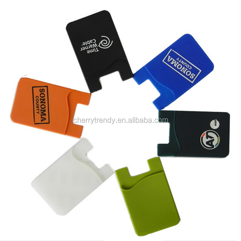 Cell Phone Card Holder/Silicone Wallet with 3M Adhesive Pouch