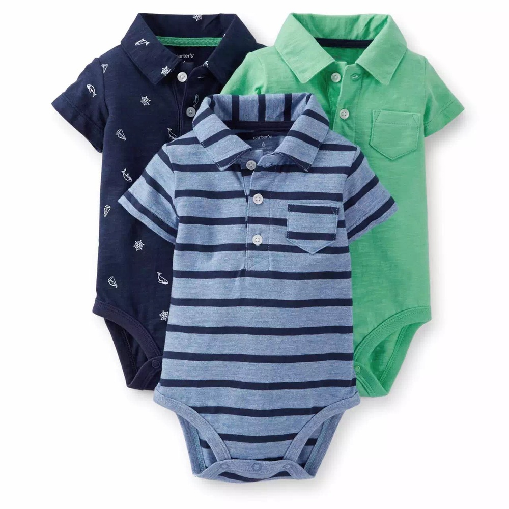 2015 New Arrival Carters Baby Boys Polo Lapel 3 Colors/Pack Rompers 100% Cotton Jumpsuit Cute Clothes Infant Wear Free Shipping