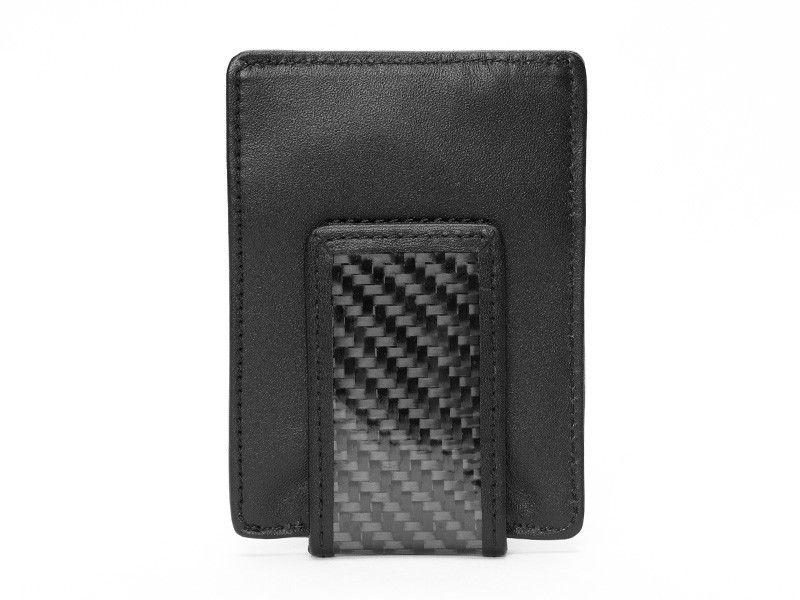 Genuine leather and carbon fiber fabric material men leather money clip mens wallet