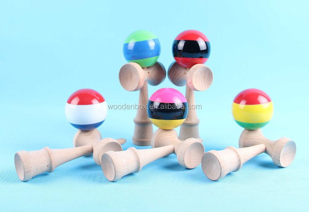 Wooden kendama toy used for fitness