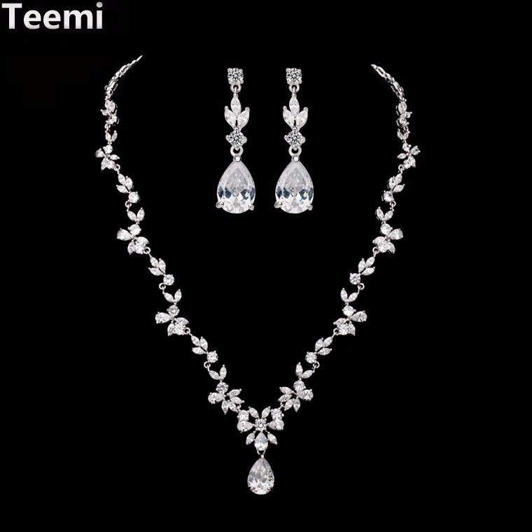 LUOTEEMI Tops Fashion Luxurious Bridal Vintage Watedrop Cubic Zirconia Necklace and Earrings Wedding Jewelry <strong>Set</strong> for Women