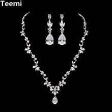 LUOTEEMI Tops Fashion Luxurious Bridal Vintage Watedrop Cubic Zirconia Necklace and Earrings Wedding Jewelry Set for Women