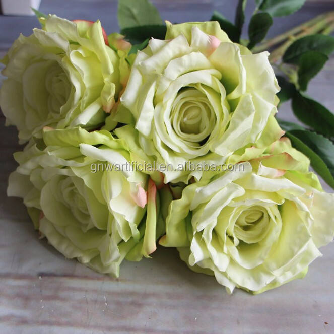 GNW FL-RS56-5-11CM Real touch flower for wedding decoration Green silk artificial rose flower