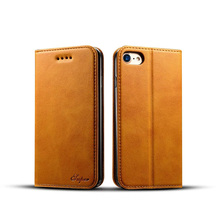 2017 Online Leather phone case store Leather flip cover for iPhone 7g Protective Card Holder Wallet phone Cases Leather
