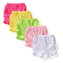 Wholesale summer casual cotton linen girls shorts icing double ruffle baby girl shorts