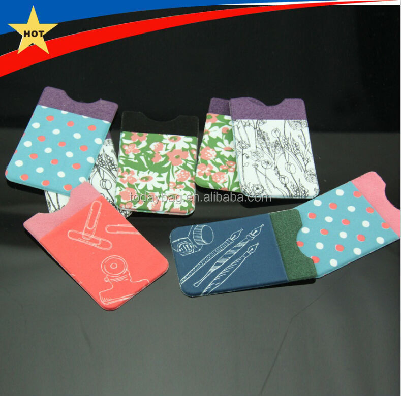 full colour heat transfer printing elastic lycra phone card holder pocket