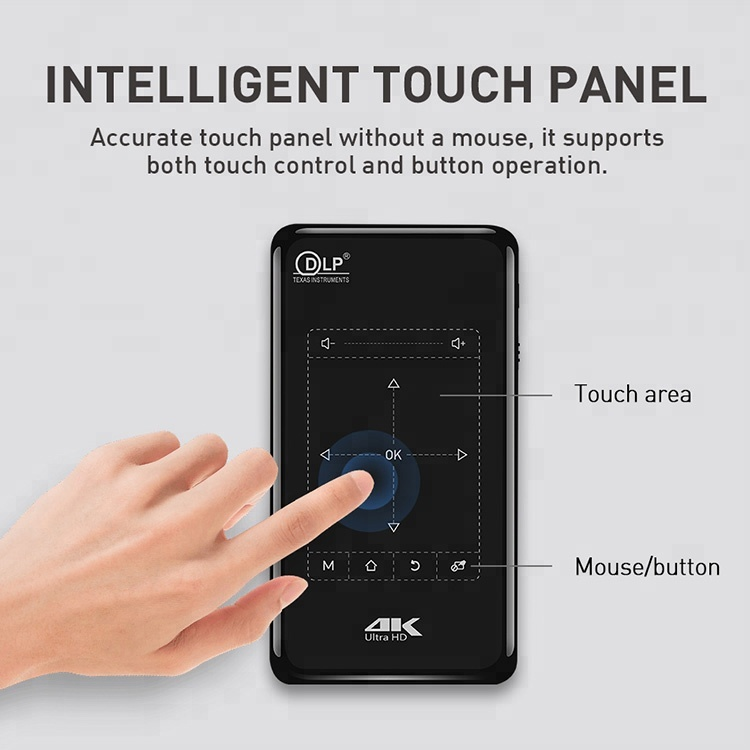 2018 4K DLP Texas Instruments mini Pico <strong>Projector</strong> with Touch Panel