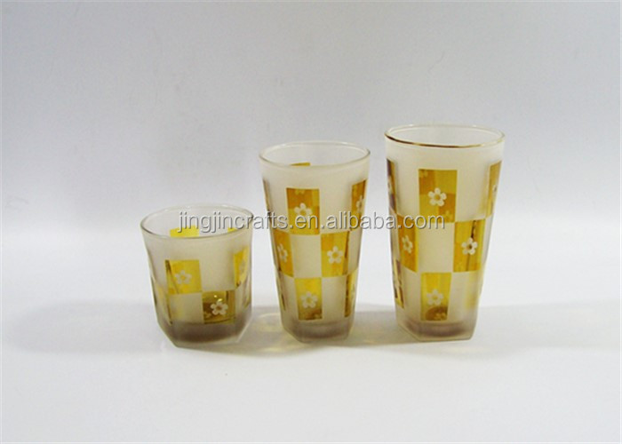 Unique design sandblasting glass drinking cup 9oz sakura glass water cup