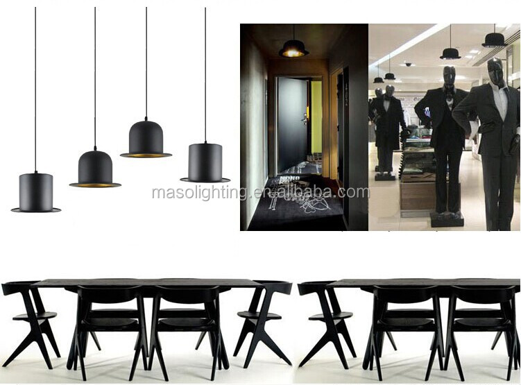 Unique Creative Jazz Hat Aluminum pendant lamp New designed Metal Black painting Retro hanging lamp for Resturant Bar Shop Decor