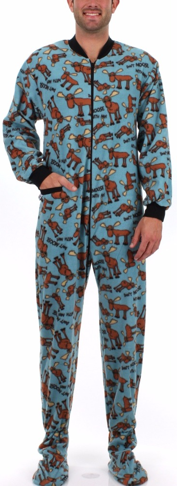 Wholesale Moose Type Printed Footed Pajama For Men