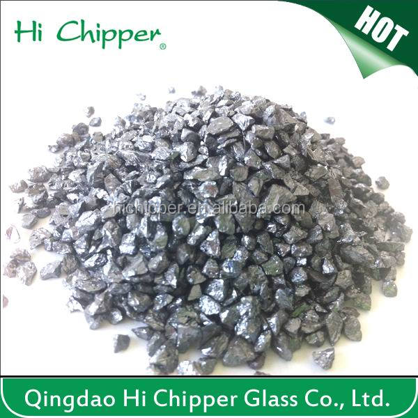 Crushed black quartz Artificial Marble Stone Type/Terrazzo tile material Gold/silver/copper coated glass chips
