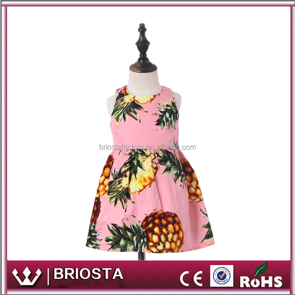 Wholesale Customized Personalized Summer Girls Pineapple Dress