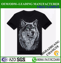 Wolf <strong>design</strong> black color t shirt cotton 3d printed t shirt online