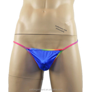 Online stores wholesale rainbow colors polyester silk mens thongs and g strings