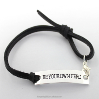 Promotional Custom braided Adjustable Leather rope Alloy Personalized Bracelet