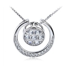 Latest Design 925 Sterling Silver Diamond Circle Pendant Necklace