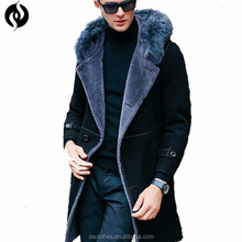 2018 High quality new style custom faux leather trench royal blue winter mens coat