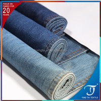 Combed Cotton Polyester Knit Twill material fabric lycra jeans fabrics 78% cotton 20%polyester 2% spandex indigodenim fabric