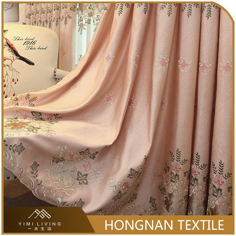 Blackout luxury embroidery design us style curtain for living room