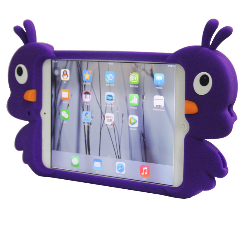 2015 Unique design duck shape Silicone case for mini ipad for kids