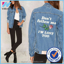 Yihao fashion 2016 new autumn wholesale women outwear printing denim jackets