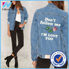 Yihao fashion 2017 new autumn wholesale jean jacket women outwear printing denim jacket women